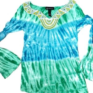 INC Women's Tie Dye Long Sleeve Blue Green Top